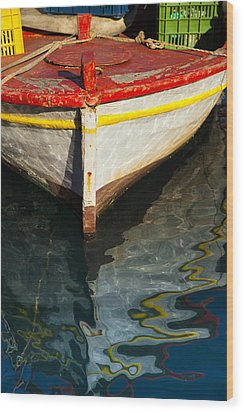 Fishing Boat In Greece Wood Print