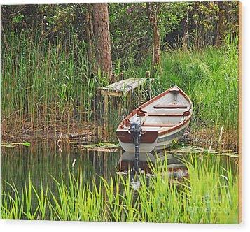 Fishing Boat Wood Print by Mary Carol Story