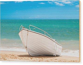 Fishing Boat On The Beach Algarve Portugal Wood Print by Amanda Elwell
