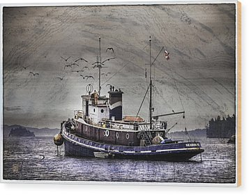 Wood Print featuring the mixed media Fishing Boat by Peter v Quenter