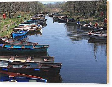 Fishing Boat Row Wood Print by Aidan Moran