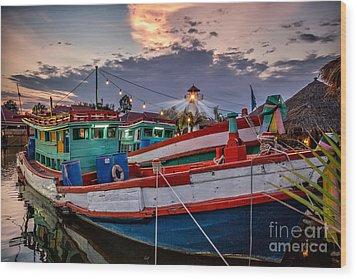 Fishing Boat V2 Wood Print by Adrian Evans