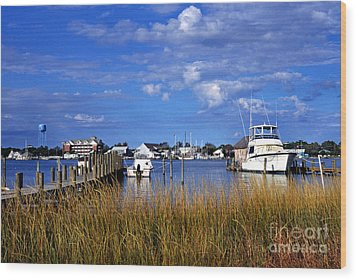 Fishing Boats At Dock Ocracoke Island Wood Print by Thomas R Fletcher