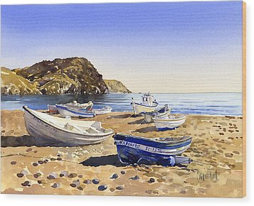 Fishing Boats At Las Negras Wood Print by Margaret Merry