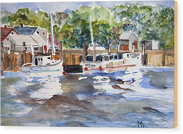 Wood Print featuring the painting Fishing Boats At Rock Harbor by Michael Helfen
