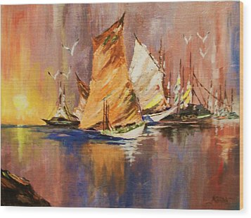 Wood Print featuring the painting Fishing Boats At Sunup by Al Brown