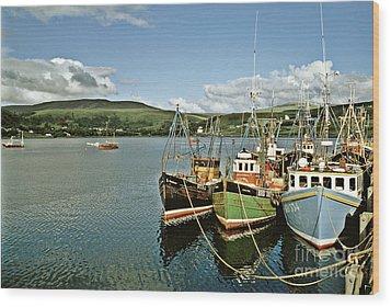 Fishing Boats At Uig Skye Scotland 1994 Wood Print by David Davies
