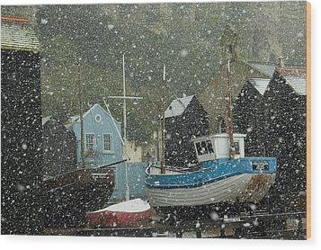 Fishing Boats Covered With Snow In Old Wood Print by Chris Parker