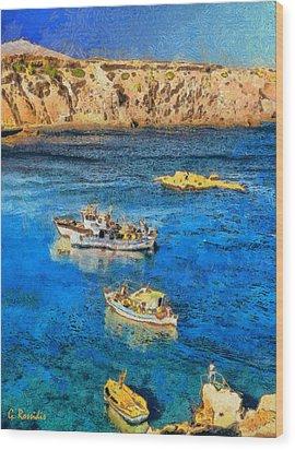 Fishing Boats Wood Print by George Rossidis