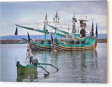 Fishing Boats In Bali Wood Print by Louise Heusinkveld
