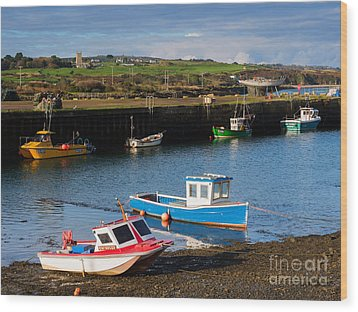 Fishing Boats In The Harbour At Hayle Wood Print by Louise Heusinkveld