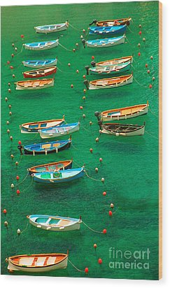 Fishing Boats In Vernazza Wood Print by David Smith