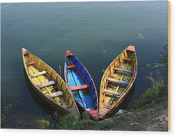 Fishing Boats - Nepal Wood Print by Aidan Moran