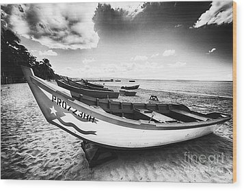 Fishing Boats On The Shore Wood Print by George Oze