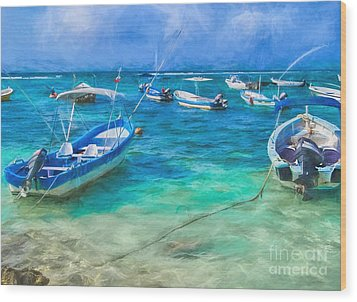 Fishing Boats Wood Print by Peggy Hughes