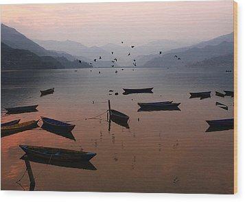 Fishing Boats - Phewa Lake - Nepal Wood Print by Aidan Moran
