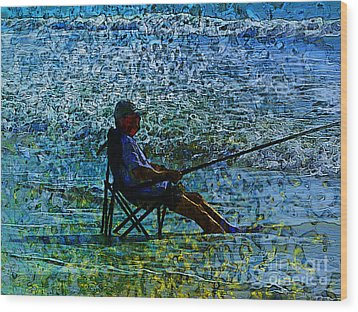 Fishing Wood Print by Claire Bull