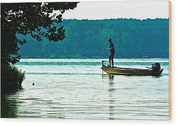 Fishing Crab Orchard Lake Wood Print