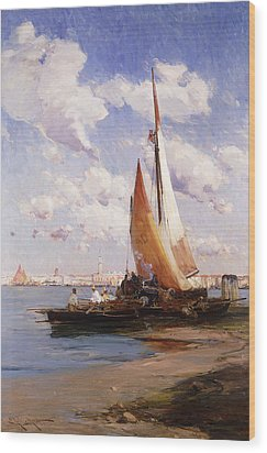 Fishing Craft With The Rivere Degli Schiavoni Venice Wood Print by E Aubrey Hunt