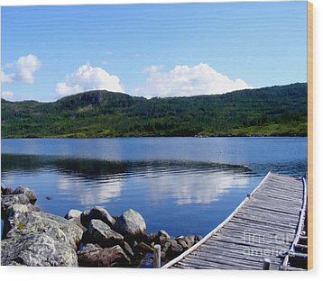 Fishing Day - Calm Waters - Digital Painting Wood Print by Barbara Griffin