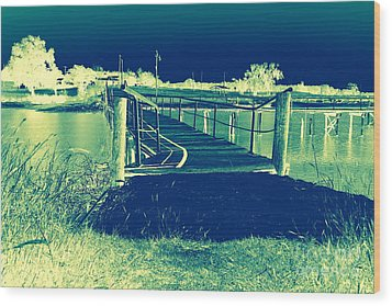 Fishing Dock Wood Print by Mickey Harkins