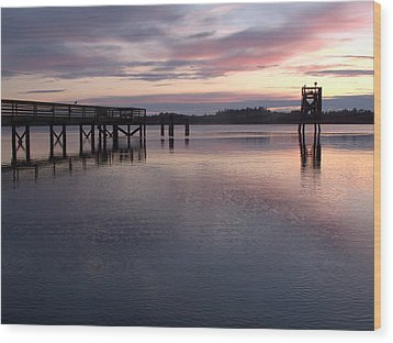 Wood Print featuring the photograph Fishing Dock Pastel by Suzy Piatt