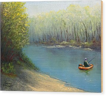 Wood Print featuring the mixed media Fishing Float by Kenny Henson