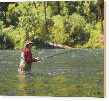 Fishing For Salom Wood Print