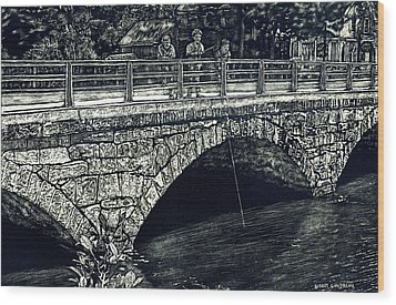 Fishing From The Stone Arched Bridge Wood Print by Robert Goudreau