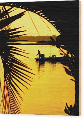 Fishing In Gold Wood Print by Karen Wiles
