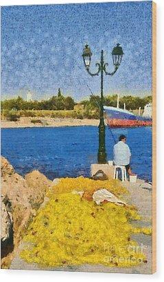 Fishing In Spetses Island Wood Print by George Atsametakis