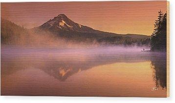 Fishing In The Fog Wood Print
