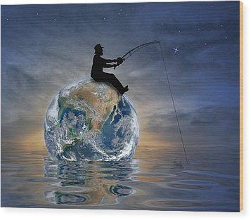 Wood Print featuring the digital art Fishing Is My World by Nina Bradica