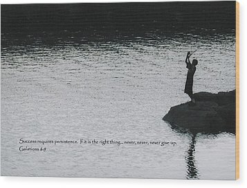 Fishing Late W/scripture Wood Print