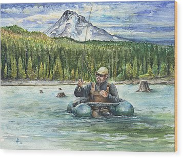 Wood Print featuring the painting Fishing Laurance by Arthur Fix