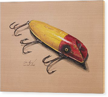 Wood Print featuring the painting Fishing Lure by Aaron Spong