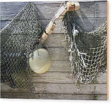 Wood Print featuring the drawing Fishing Nets by Dianne Levy