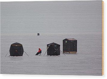 Fishing On Icy Lake Wood Print