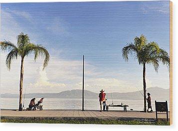 Wood Print featuring the photograph Fishing On Lake Chapala by David Perry Lawrence