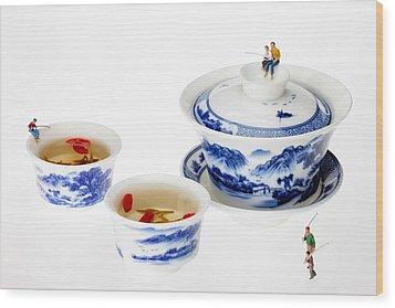 Fishing On Tea Cups Little People On Food Series Wood Print by Paul Ge