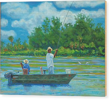 Fishing On The Cooper Wood Print