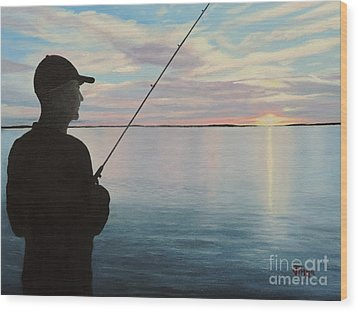 Fishing On The Flats Wood Print by Jimmie Bartlett