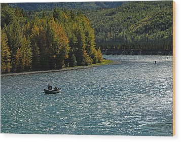 Fishing On The Kenai River Wood Print by Dyle   Warren