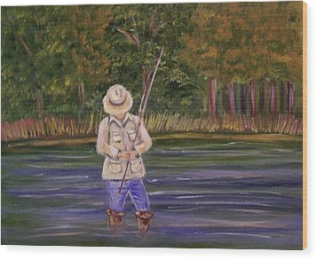 Fishing On The River Wood Print by Belinda Lawson