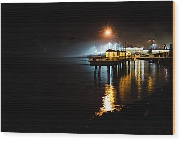 Fishing Pier At Night Wood Print by Brian Xavier