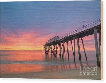 Fishing Pier Sunrise Wood Print by Michael Ver Sprill
