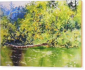 Fishing Pond Wood Print