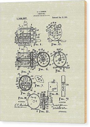 Fishing Reel 1916 Patent Art Wood Print by Prior Art Design