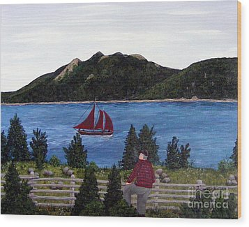 Wood Print featuring the painting Fishing Schooner by Barbara Griffin