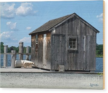 Fishing Shack On The Mystic River Wood Print by RC DeWinter